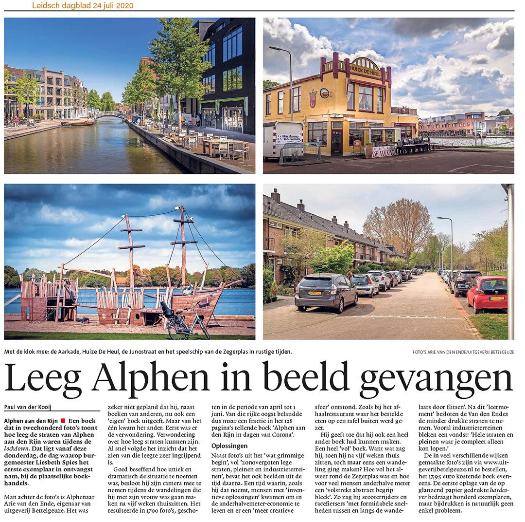 Alphen aan den Rijn in dagen van Corona. Artikel in het Leidsch Dagblad van 24 juli 2020